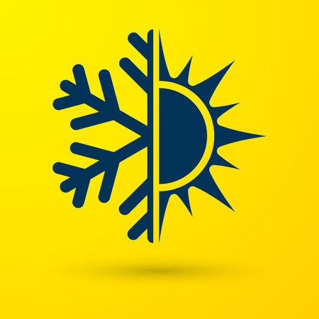 Símbolo azul caliente y frío. Icono de sol y copo de nieve aislado sobre fondo amarillo. Símbolo de invierno y verano. Ilustración vectorial
