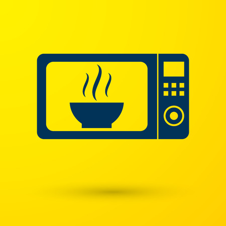 Blue Microwave oven icon isolated on yellow background. Home appliances icon.Vector Illustration