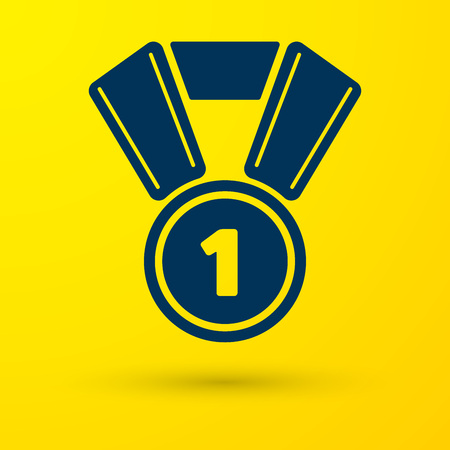 Blue Medal icon isolated on yellow background. Winner symbol. Vector Illustration Illustration