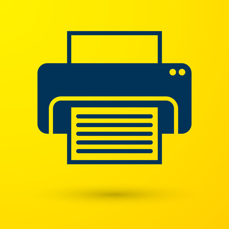 Blue Printer icon isolated on yellow background. Vector Illustration