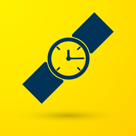 Blue Wrist watch icon isolated on yellow background. Wristwatch icon. Vector Illustration Ilustración de vector