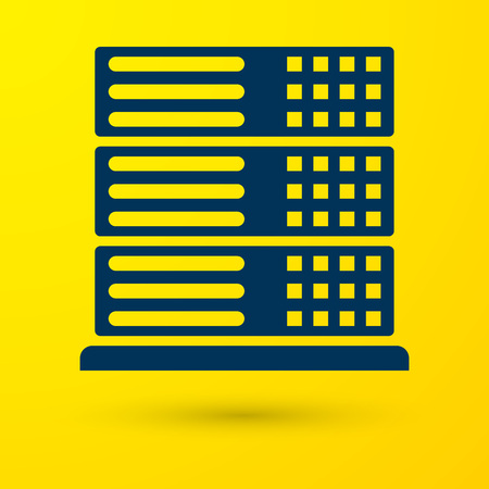 Blue Server, Data, Web Hosting icon isolated on yellow background. Vector Illustration