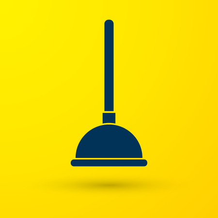 Blue Rubber plunger with wooden handle for pipe cleaning icon isolated on yellow background. Toilet plunger. Vector Illustration
