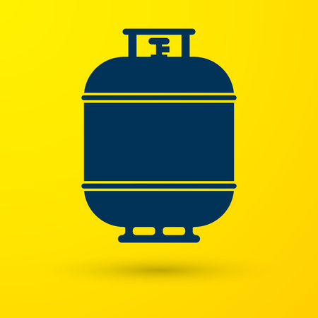 Blue Propane gas tank icon isolated on yellow background. Flammable gas tank icon. Vector Illustration
