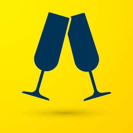 Blue Glasses of champagne icon isolated on yellow background. Vector Illustration Ilustração