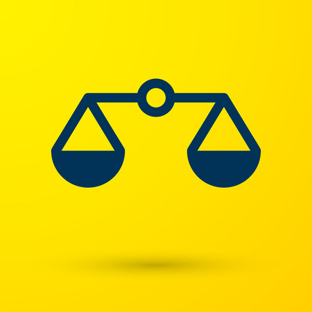 Blue Scales of justice icon isolated on yellow background. Court of law symbol. Balance scale sign. Vector Illustration