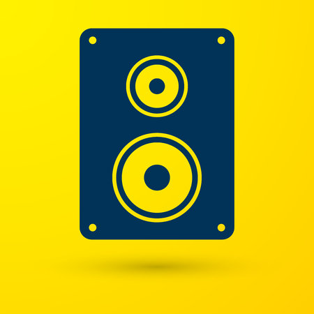 Blue Stereo speaker icon isolated on yellow background. Sound system speakers. Music icon. Musical column speaker bass equipment. Vector Illustration