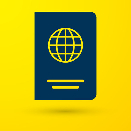 Blue Passport with biometric data icon isolated on yellow background. Identification Document. Vector Illustration 向量圖像