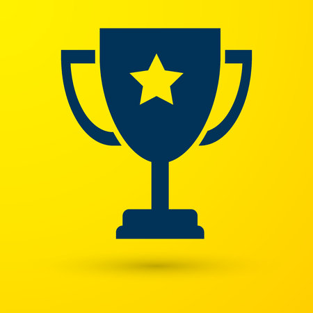 Blue Trophy cup icon isolated on yellow background. Award symbol. Champion cup icon. Vector Illustration Ilustrace