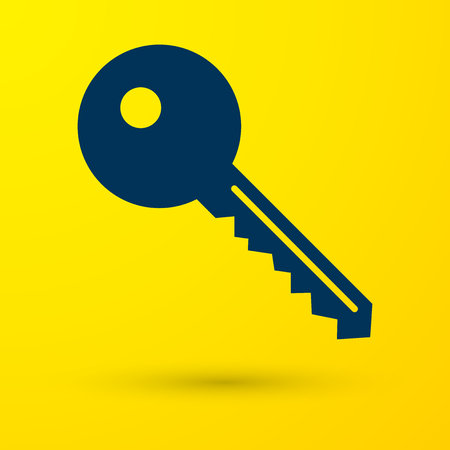Blue Key icon isolated on yellow background. Vector Illustration Imagens - 119177622