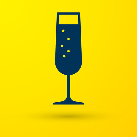 Blue Glass of champagne icon isolated on yellow background. Vector Illustration Ilustração