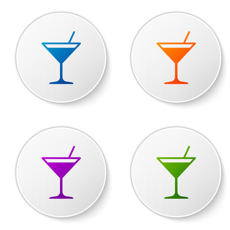 Color Martini glass icon isolated on white background. Cocktail icon. Wine glass icon. Set color icon in circle buttons. Vector Illustration