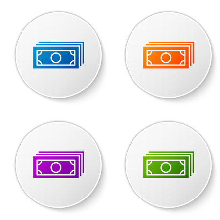 Color Stacks paper money cash icon isolated on white background. Money banknotes stacks. Bill currency. Set color icon in circle buttons. Vector Illustration