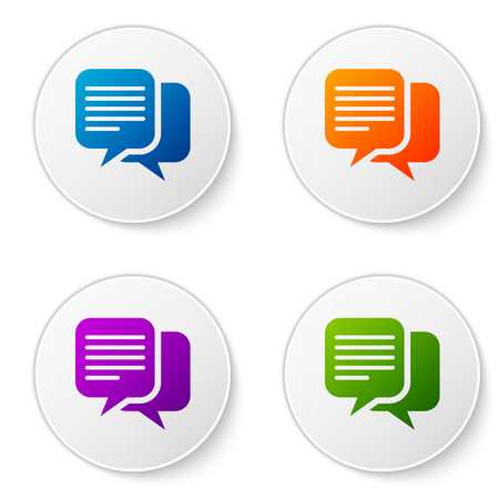 Color Chat icon isolated on white background. Speech bubbles symbol. Set color icon in circle buttons. Vector Illustration Illustration