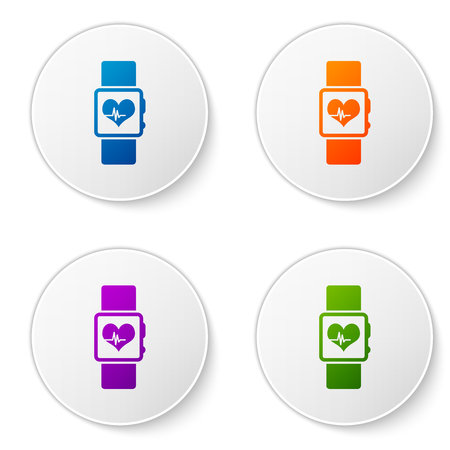 Color Smart watch showing heart beat rate icon isolated on white background. Fitness App concept. Set color icon in circle buttons. Vector Illustration