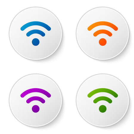 Color Wi-Fi wireless internet network symbol icon isolated on white background. Set color icon in circle buttons. Vector Illustration