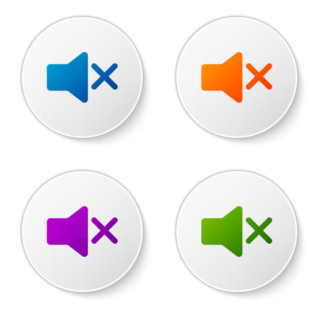 Color Speaker mute icon isolated on white background. No sound icon. Volume Off symbol. Set color icon in circle buttons. Vector Illustration Illustration