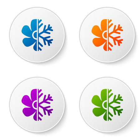 Color Air conditioner icon isolated on white background. Set color icon in circle buttons. Vector Illustration Illustration