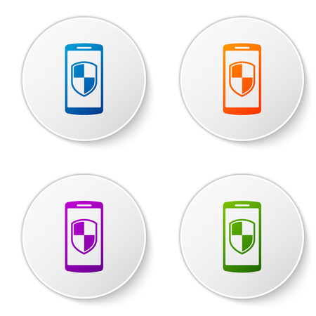 Color Smartphone, mobile phone with security shield icon isolated on white background. Set color icon in circle buttons. Vector Illustration