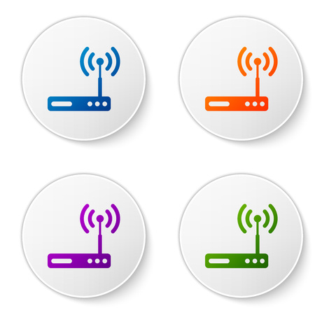Color Router and wi-fi signal symbol icon isolated on white background. Wireless ethernet modem router. Computer technology internet. Set color icon in circle buttons. Vector Illustration Illustration
