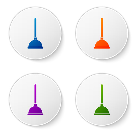 Color Rubber plunger with wooden handle for pipe cleaning icon isolated on white background. Toilet plunger. Set color icon in circle buttons. Vector Illustration Vectores