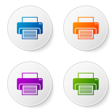 Color Printer icon isolated on white background. Set color icon in circle buttons. Vector Illustration