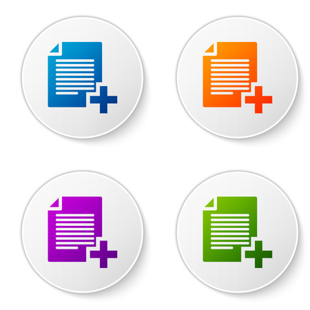 Color Add new file icon isolated on white background. Copy document icon. Set color icon in circle buttons. Vector Illustration