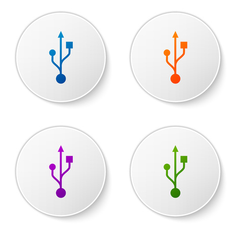 Color USB symbol icon isolated on white background. Set color icon in circle buttons. Vector Illustration Ilustração