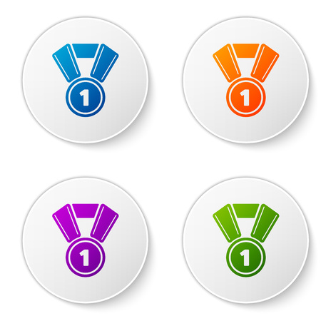 Color Medal icon isolated on white background. Winner symbol. Set color icon in circle buttons. Vector Illustration