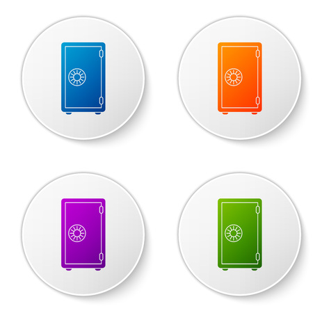 Color Safe icon isolated on white background. The door safe a bank vault with a combination lock. Reliable Data Protection. Set color icon in circle buttons. Vector Illustration