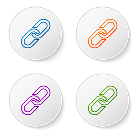 Color Chain link icon isolated on white background. Link single. Set color icon in circle buttons. Vector Illustration