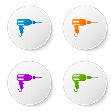 Color Drill machine icon isolated on white background. Set color icon in circle buttons. Vector Illustration