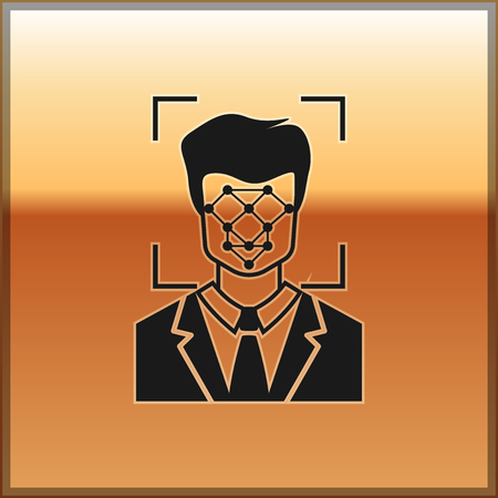 Black Face recognition icon isolated on gold background. Face identification scanner icon. Facial id. Cyber security concept. Vector Illustration