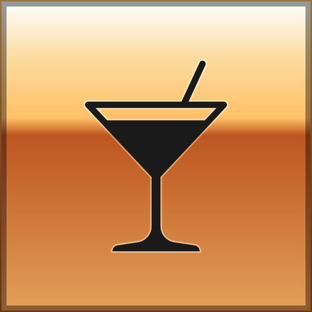 Black Martini glass icon isolated on gold background. Cocktail icon. Wine glass icon. Vector Illustration