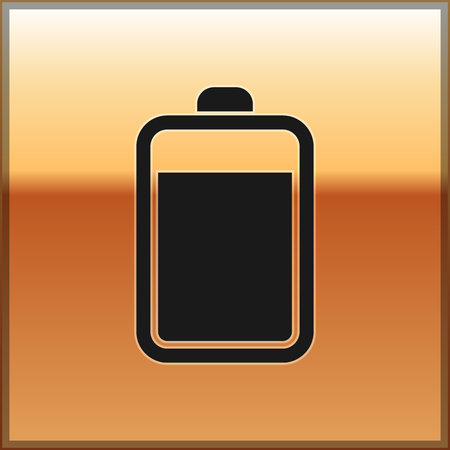 Black Battery icon isolated on gold background. Vector Illustration Stock Illustratie
