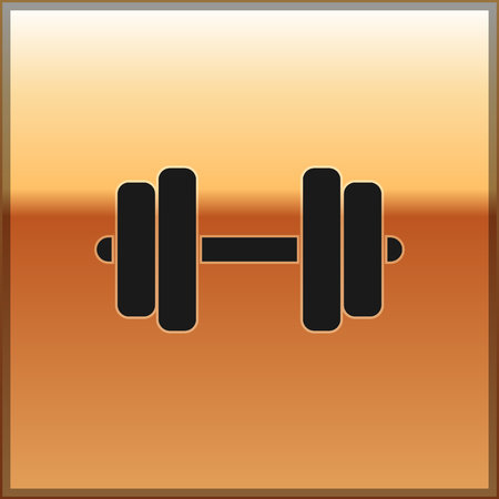 Black Dumbbell icon isolated on gold background. Muscle lifting icon, fitness barbell, gym icon, sports equipment symbol, exercise bumbbell. Vector Illustration