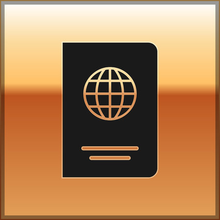 Black Passport with biometric data icon isolated on gold background. Identification Document. Vector Illustration 向量圖像