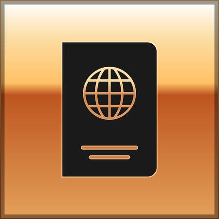 Black Passport with biometric data icon isolated on gold background. Identification Document. Vector Illustration Illustration