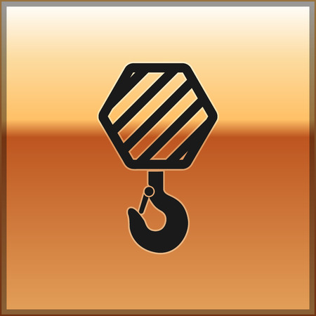 Black Industrial hook icon isolated on gold background. Crane hook icon. Vector Illustration Banque d'images - 124127592