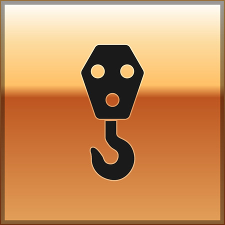 Black Industrial hook icon isolated on gold background. Crane hook icon. Vector Illustration