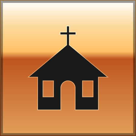 Black Church building icon isolated on gold background. Christian Church. Religion of church. Vector Illustration