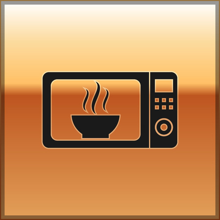 Black Microwave oven icon isolated on gold background. Home appliances icon.Vector Illustration