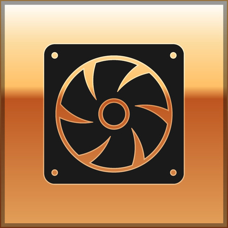 Black Computer cooler icon isolated on gold background. PC hardware fan. Vector Illustration