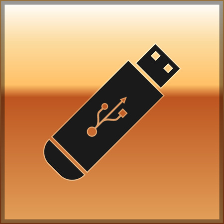 Black USB flash drive icon isolated on gold background. Vector Illustration