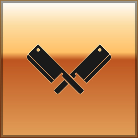 Black Crossed meat chopper icon isolated on gold background. Kitchen knife for meat. Butcher knife. Vector Illustration Illustration