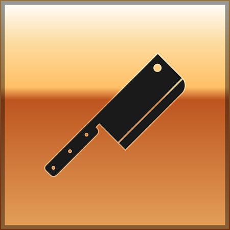 Black Meat chopper icon isolated on gold background. Kitchen knife for meat. Butcher knife. Vector Illustration Illustration