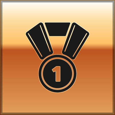 Black Medal icon isolated on gold background. Winner symbol. Vector Illustration