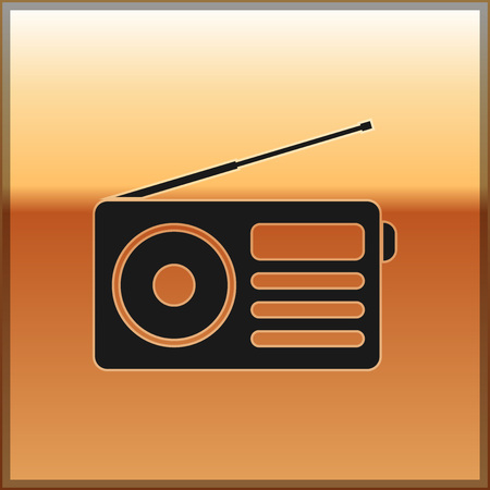 Black Radio with antenna icon isolated on gold background. Vector Illustration 向量圖像