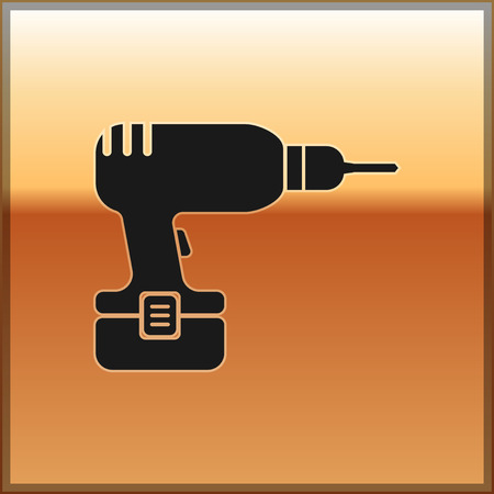Black Drill machine icon isolated on gold background. Vector Illustration