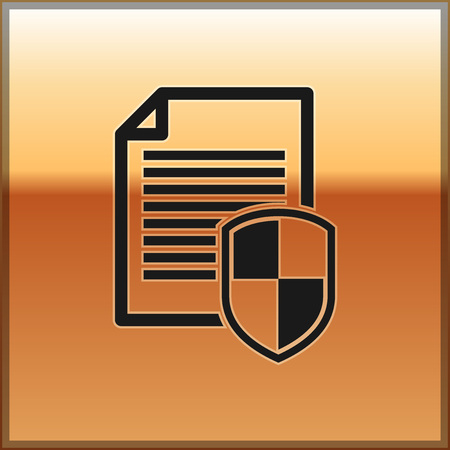 Black Document protection concept icon on gold background. Confidential information and privacy idea, secure data with paper doc roll and guard shield. Vector Illustration